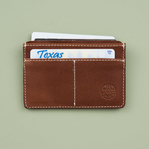 leather card wallet with stamped circle magnolia logo