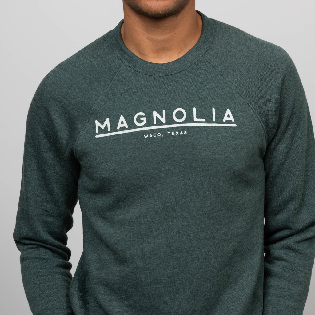 green lined sweatshirt with magnolia logo