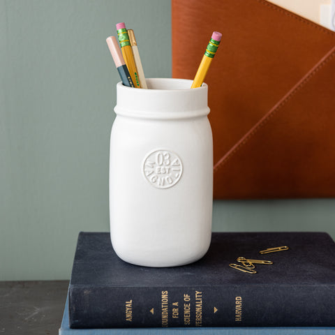 matte white mason jar pencil holder