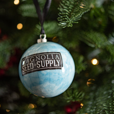 magnolia seed and supply decoupage christmas ornament