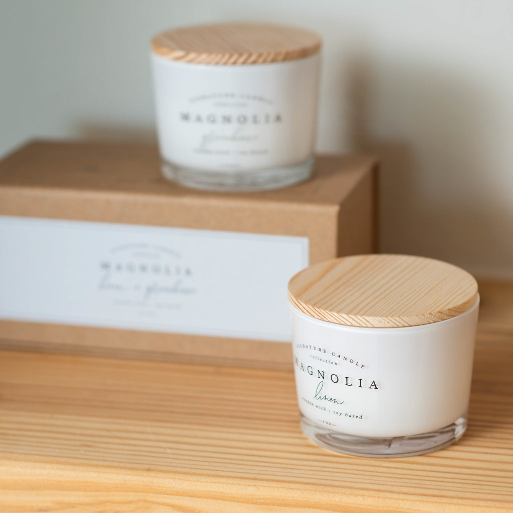 magnolia signature candle bundle with two 4 ounce candles