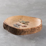 mango wood plate with bark edging