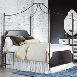 four post iron canopy bed with dark blackened bronze finish