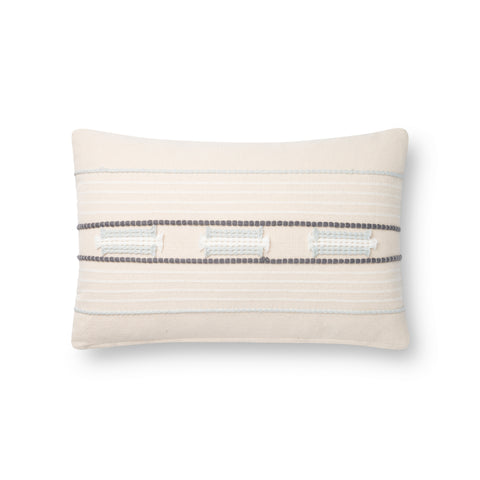 white modern rectangular pillow with navy and light blue textured stripes