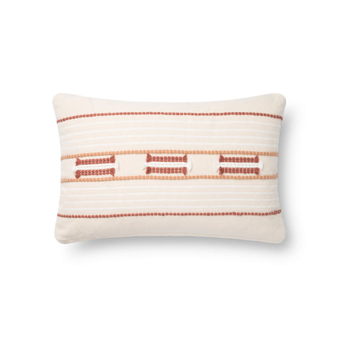 white modern rectangular pillow with spice red and orange textured stripes