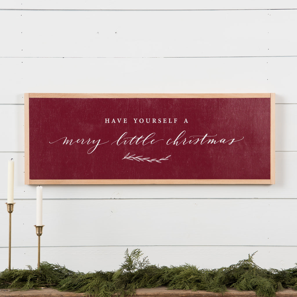 red wooden wall sign that says have