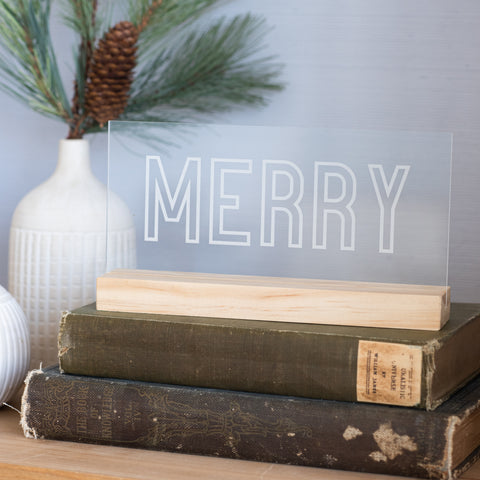 Merry Etched Acrylic Sign