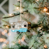 blue metal camper ornament