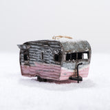 pink metal camper ornament