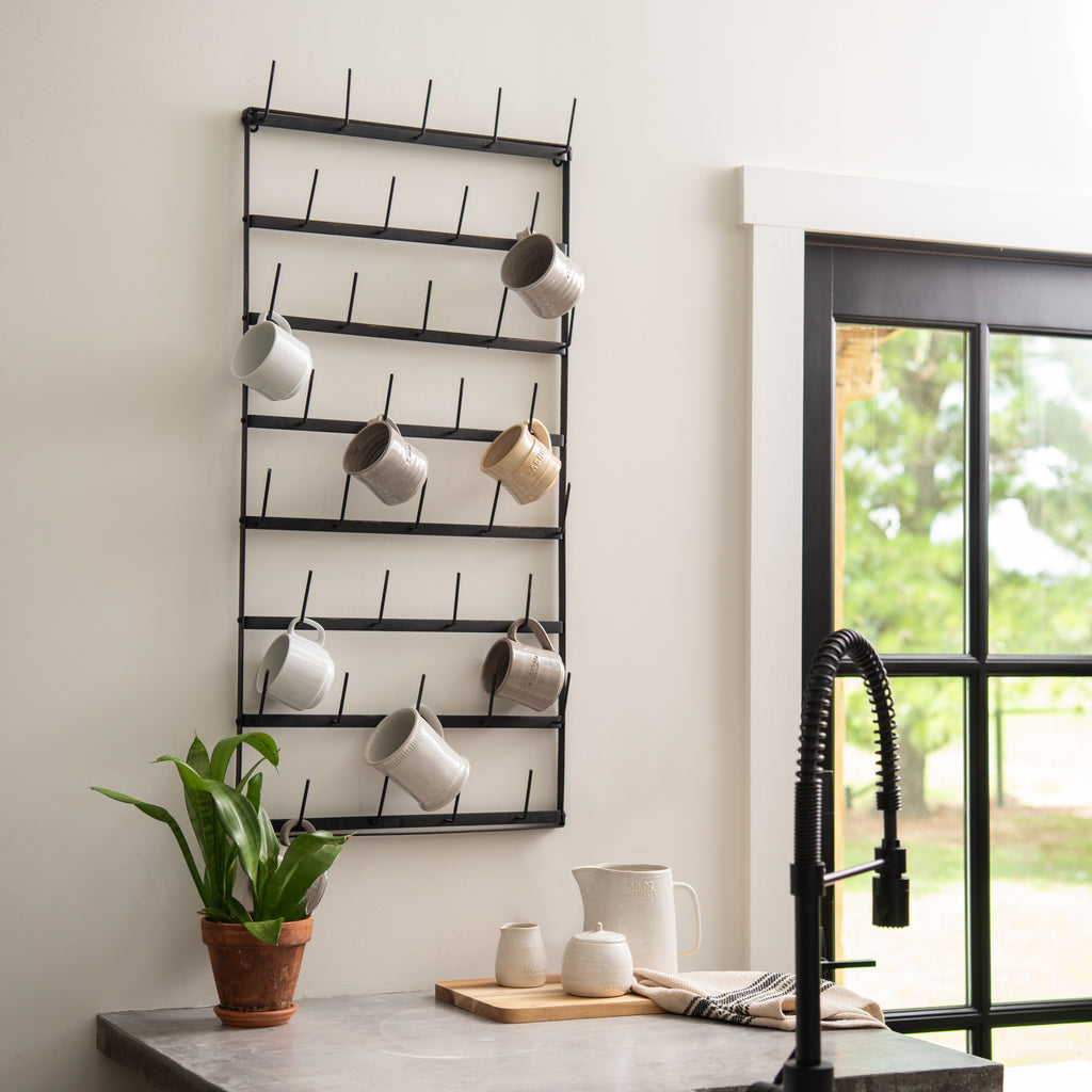 black metal hanging mug rack