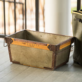 rectangular galvanized metal bin with handles and magnolia logo