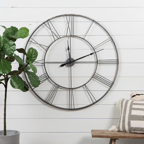 dark metal wall clock with roman numeral numbers
