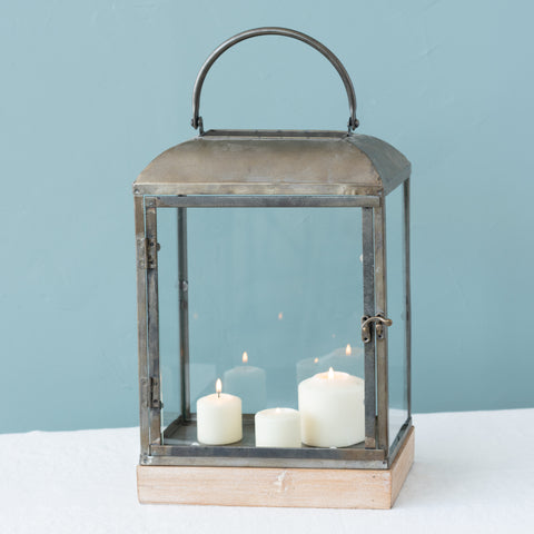 decorative raw metal candle lantern with handle