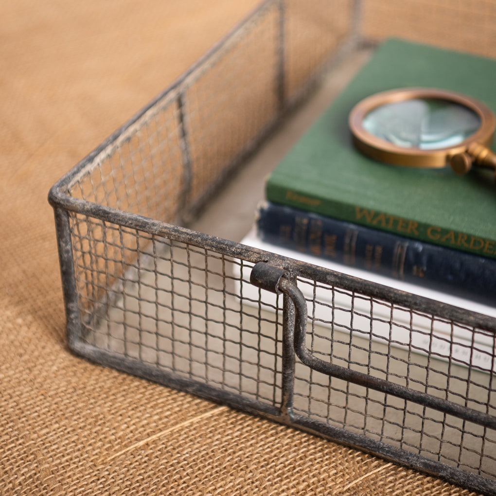 metal wire tray with handles