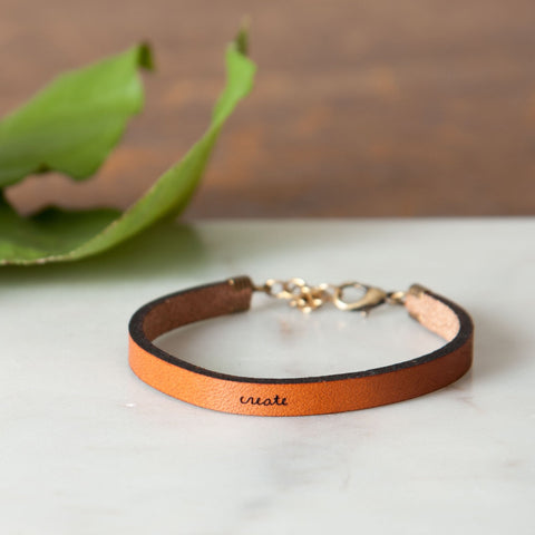 """Create"" Leather Bracelet"