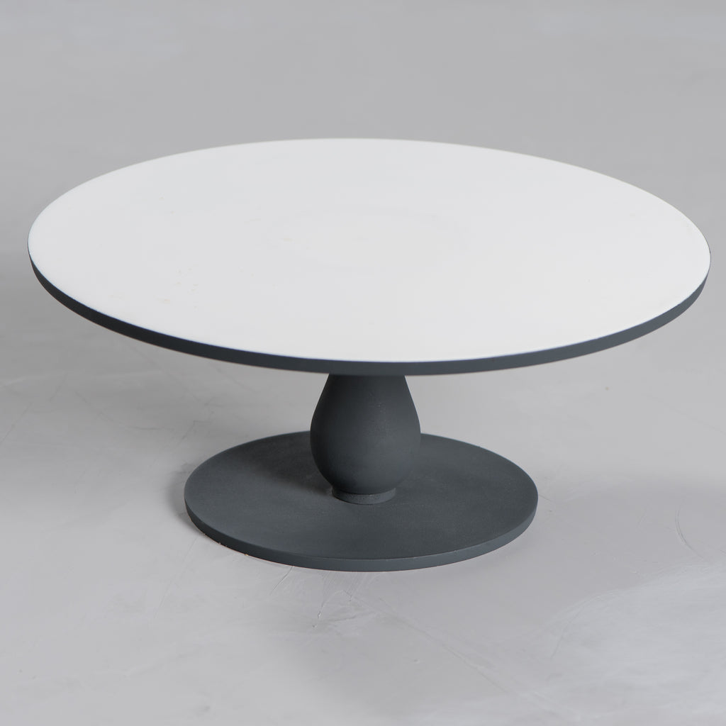 aluminum and enamel cake stand