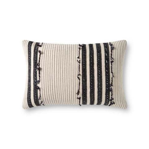 cream rectangular pillow with vertical white and black stripes and varied texture