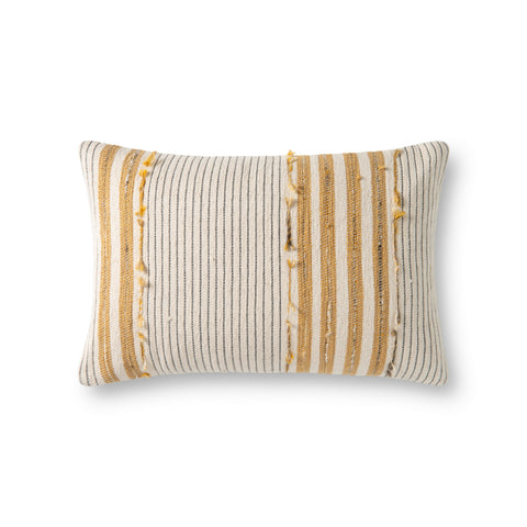 cream rectangular pillow with vertical white and gold stripes and varied texture