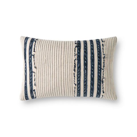 cream rectangular pillow with vertical white and navy stripes and varied texture