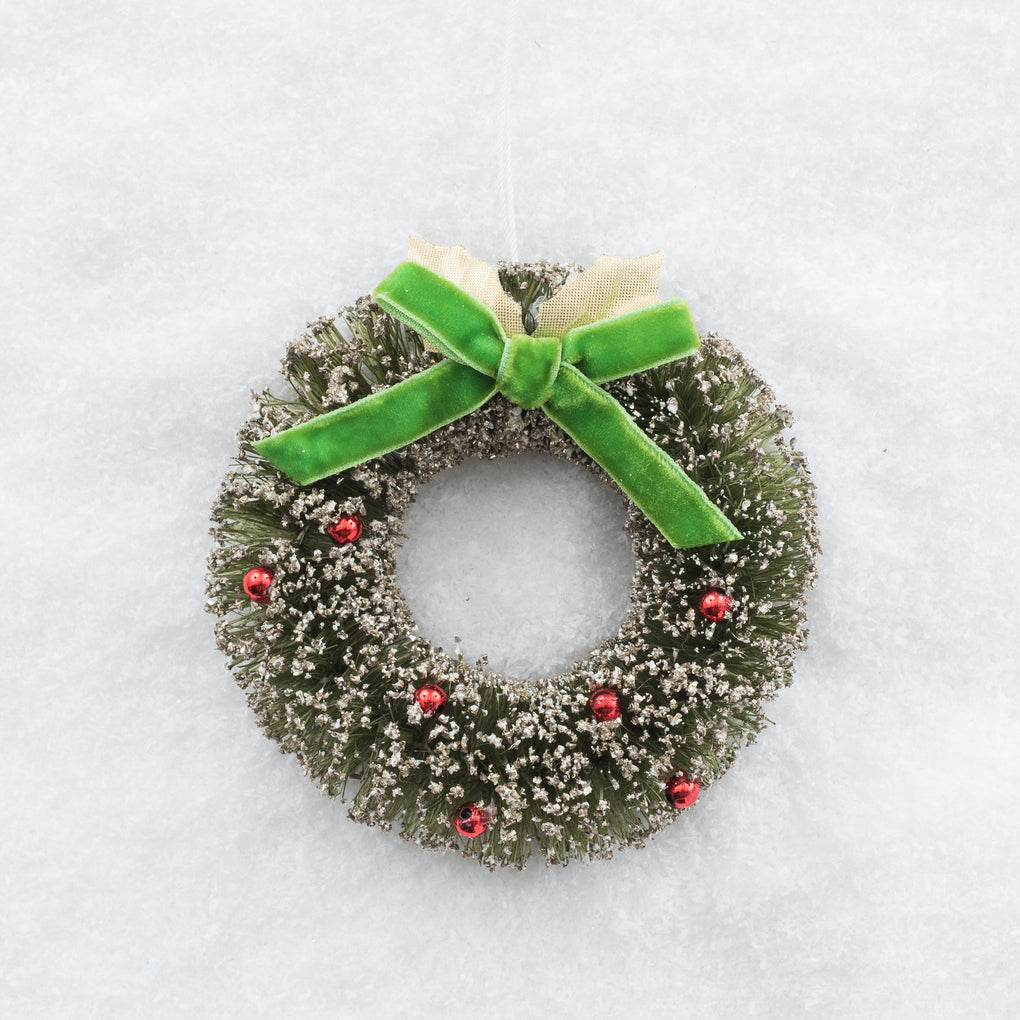 miniature wreath ornament with green bow