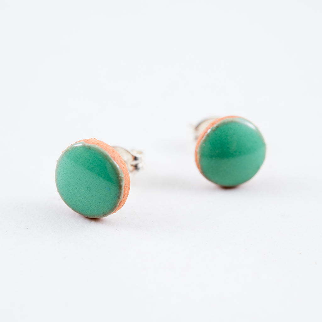 small green painted clay stud earrings