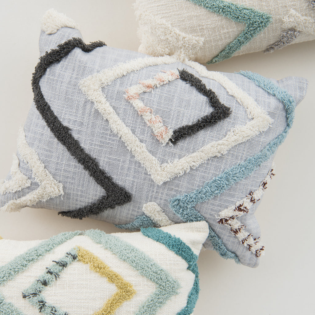 modern pillow with textured diamond detail