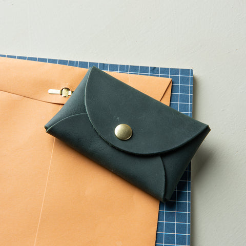 mini green leather snap wallet