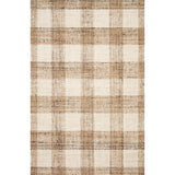 natural and cream plaid jute rug