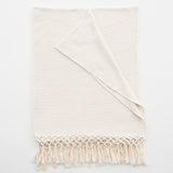 natural colored throw with tassels