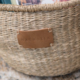 natural seagrass basket tote with handles