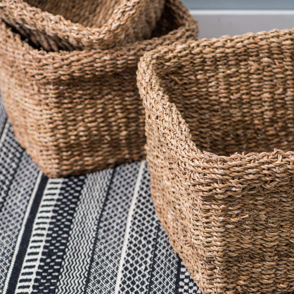 natural woven square seagrass basket