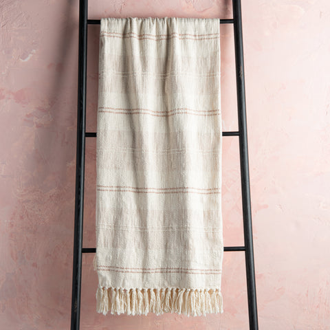 ivory fringed decorative throw blanket with beige and tan stripes
