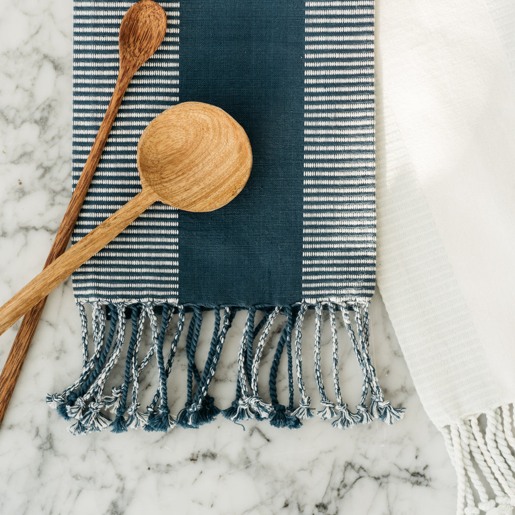 navy cotton striped tea towel with tassels