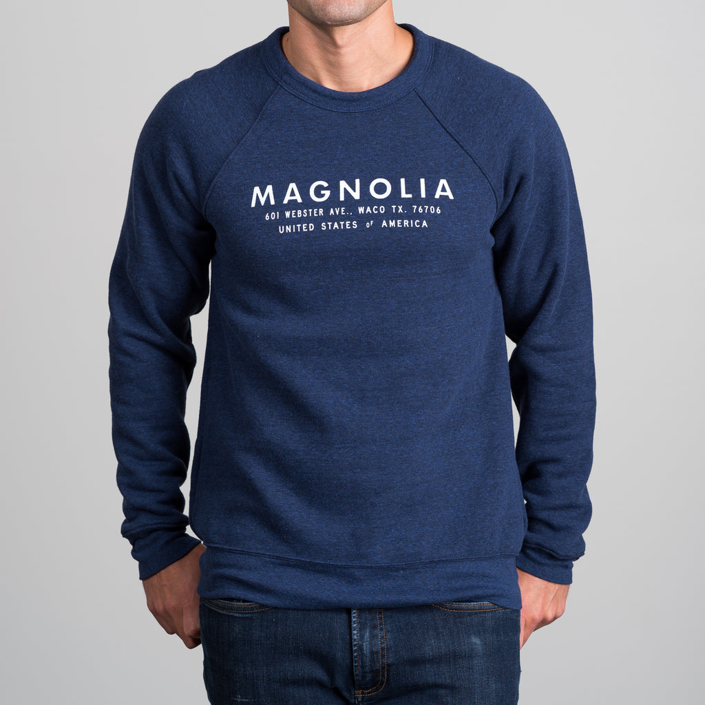 navy sweatshirt with white modern magnolia logo