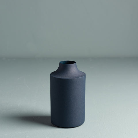 navy blue powder coated metal textured vase