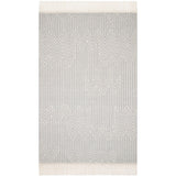 modern light gray and ivory rug with modern pattern and tassel fringe