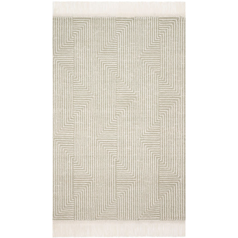 light sage green and ivory modern rug with geometric pattern and tassel fringe