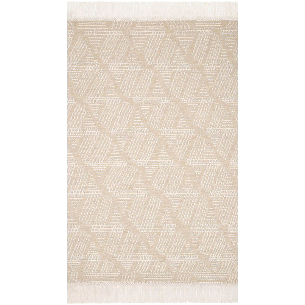 modern tan and ivory rug with geometric pattern and tassel fringe