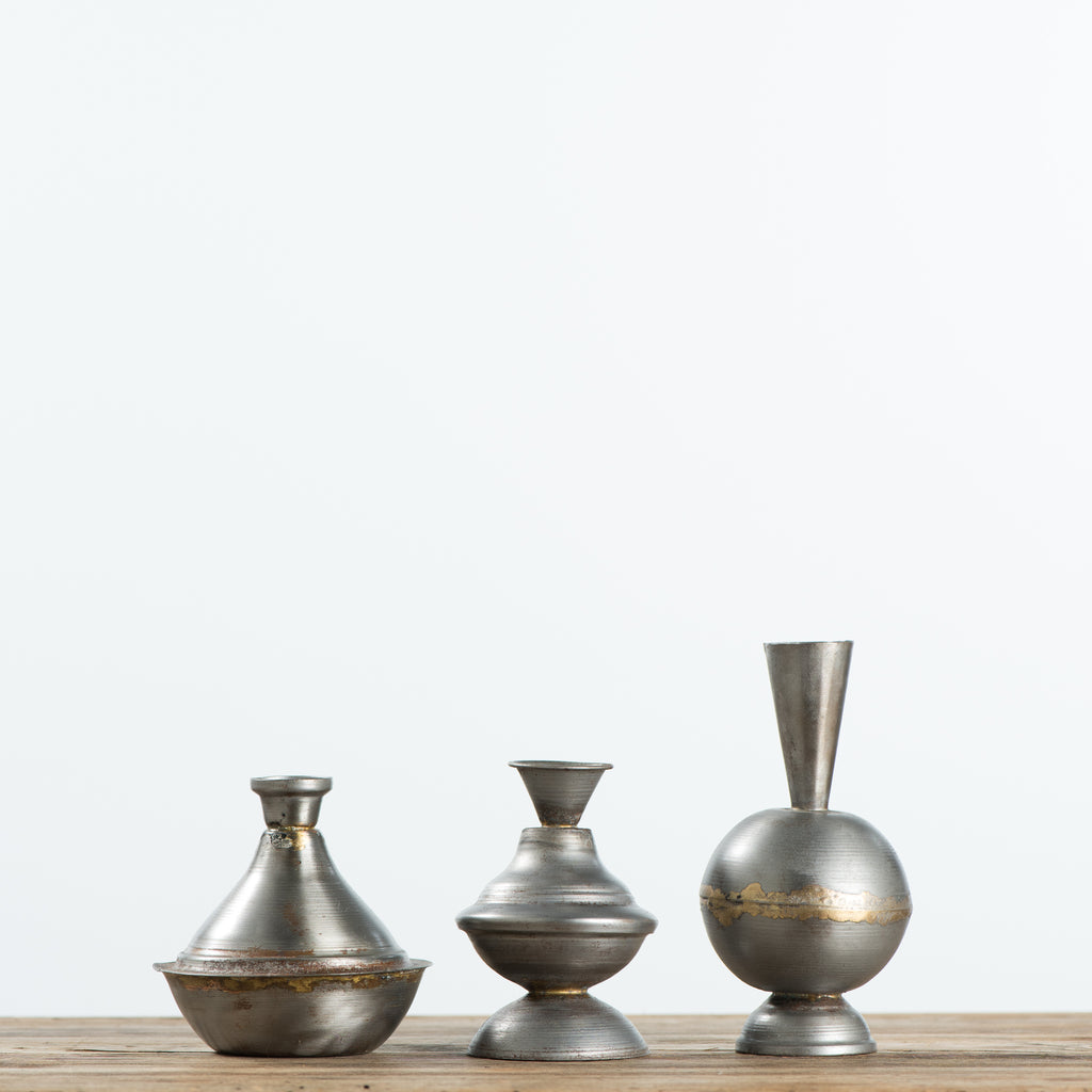 small metal vases