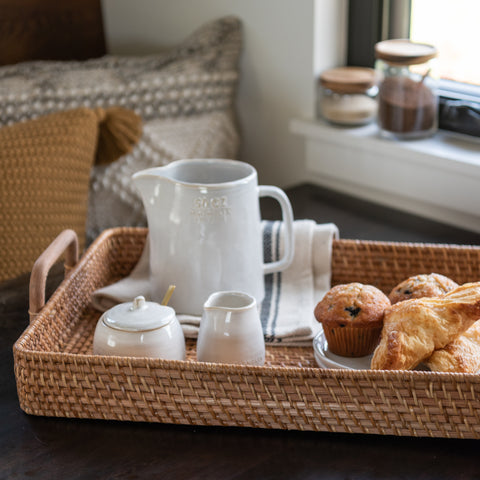 rectangular rattan tray with wooden handles