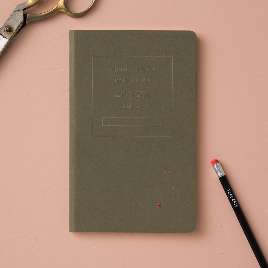 dark olive green embossed journal with dot grid pages