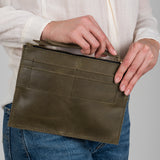 dark olive leather pouch clutch