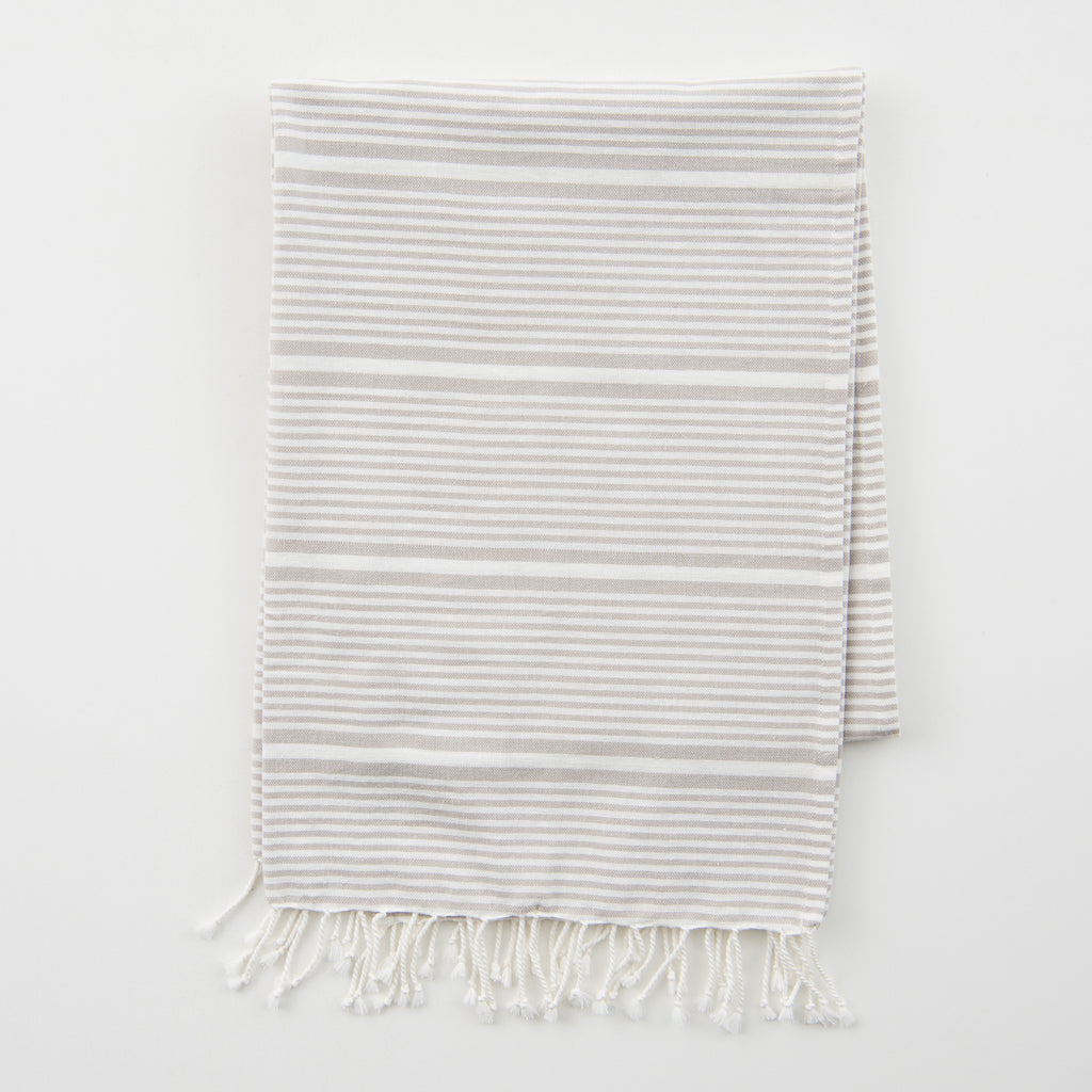 grey and white striped fouta towel