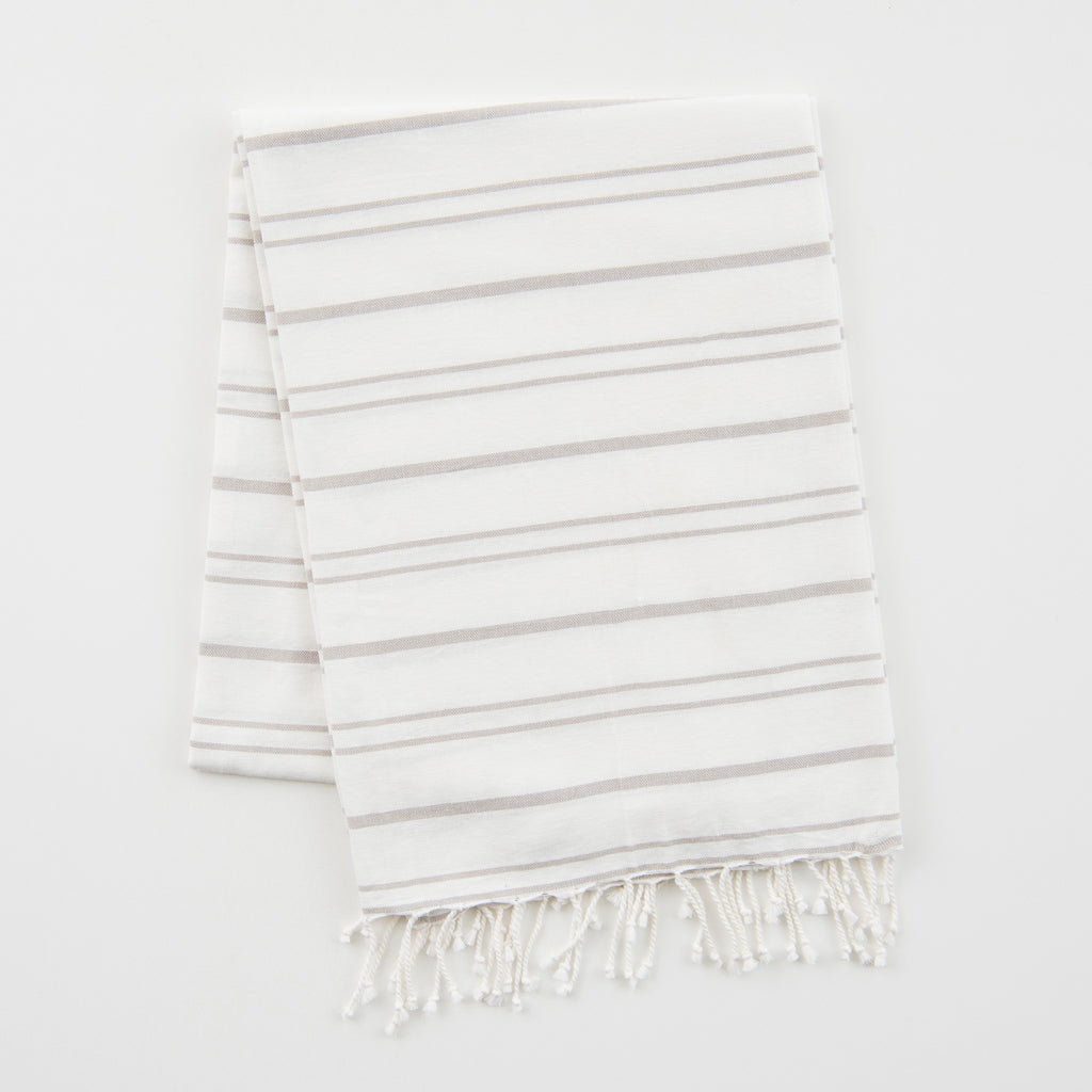 white and light grey striped fouta towel