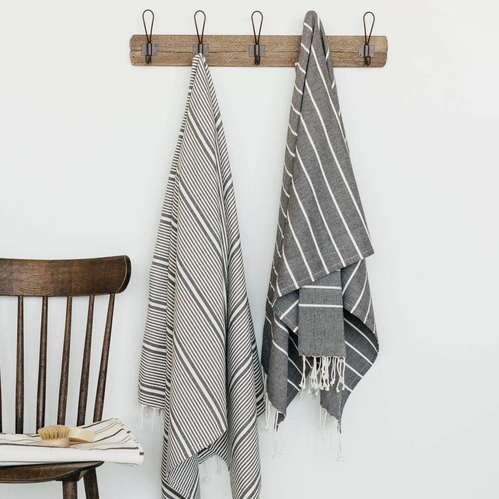 dark grey and white striped organic cotton fouta towel