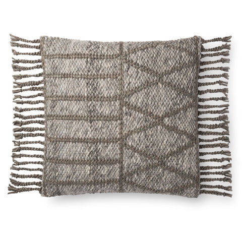 square earth-tones pillow with raised olive geometric detail and tassel fringe