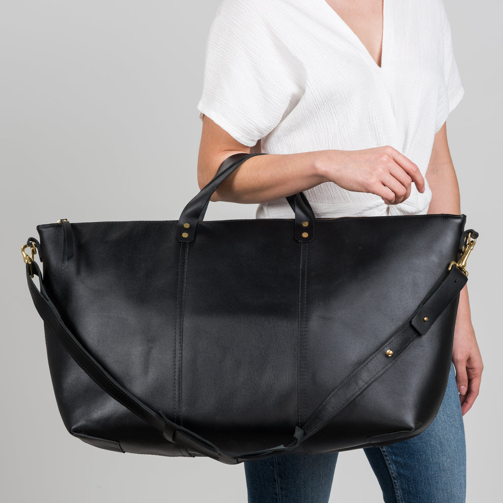oversized black leather travel tote