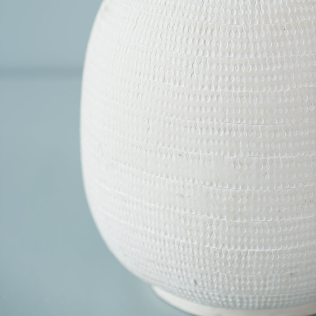 white oversized ceramic bubble vase with matte finish