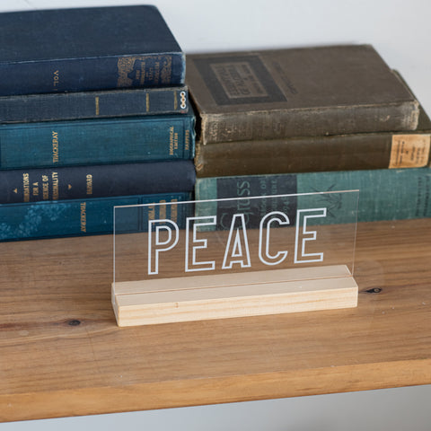 Peace Etched Acrylic Sign