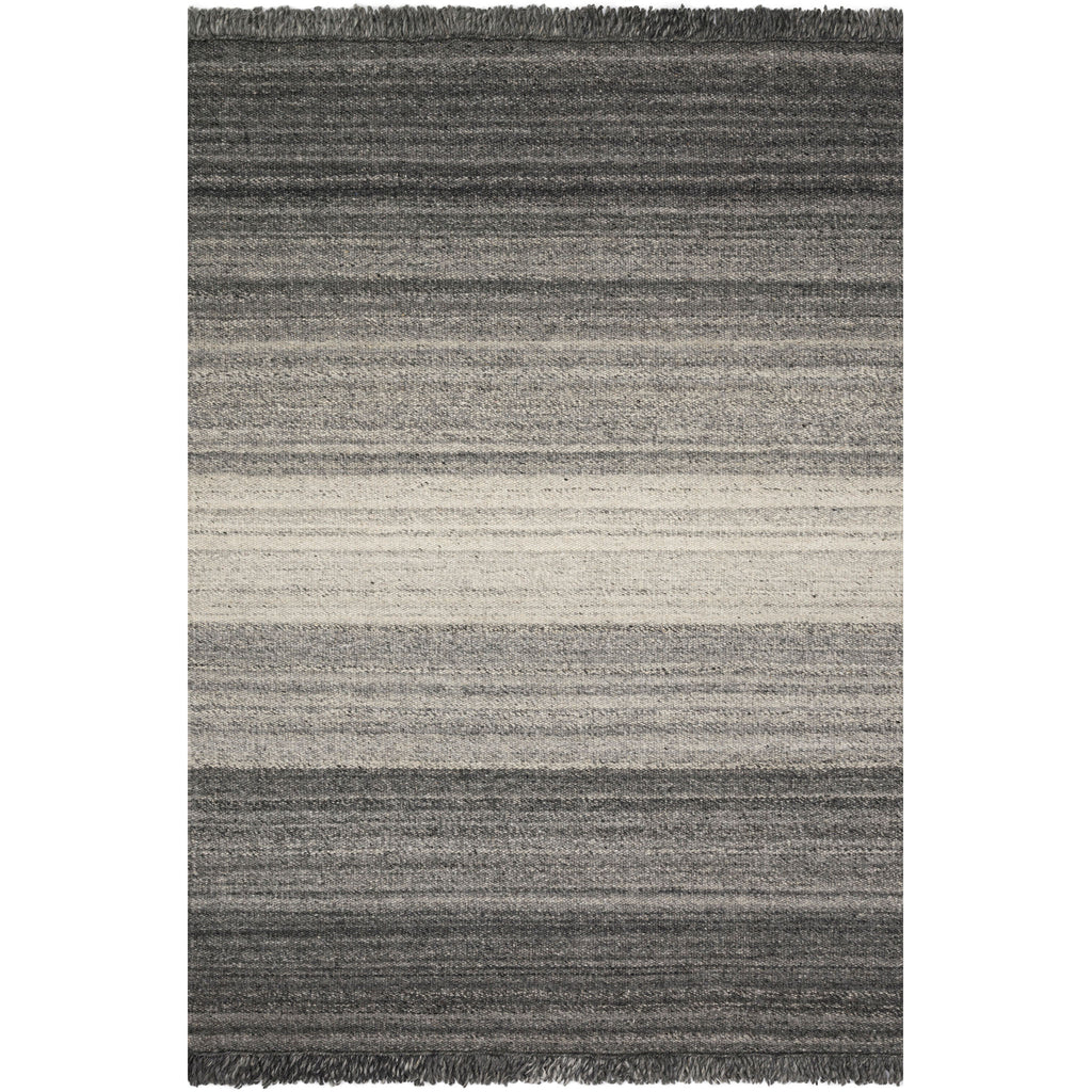 modern rug with various gray striped pattern and tassels